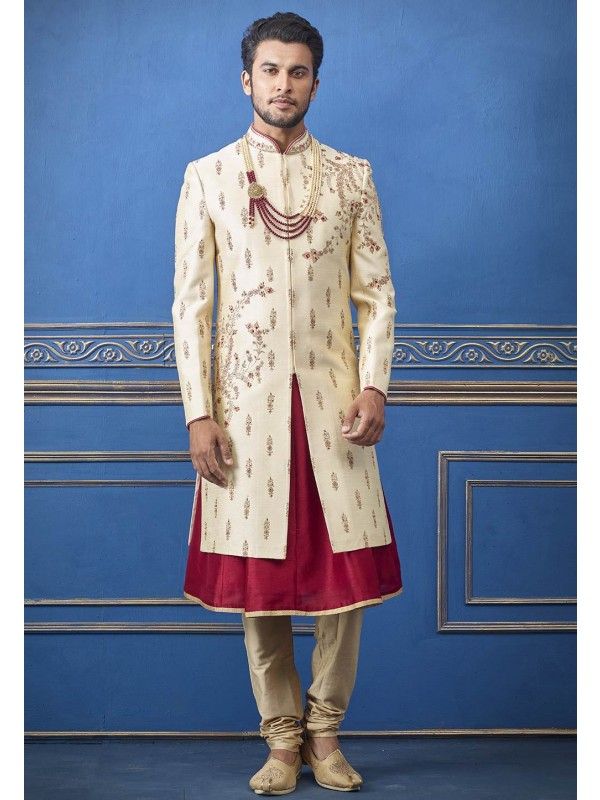 Cream Colour Silk Designer Sherwani.