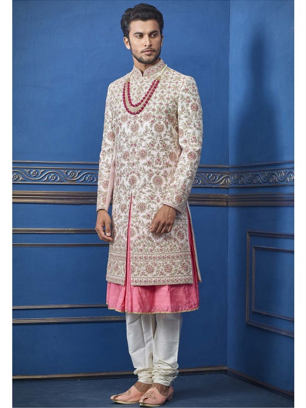 Off White Colour Indian Men's Sherwani.