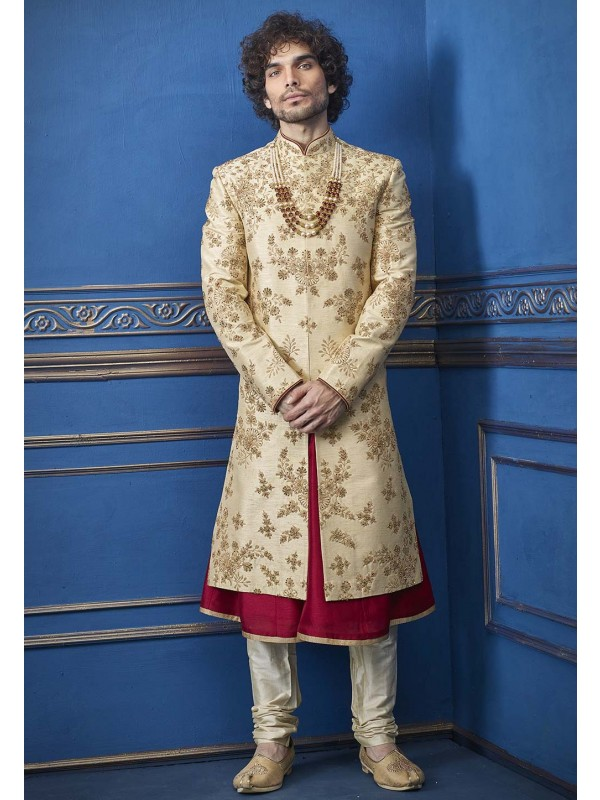 Golden Colour Silk Indian Wedding Sherwani.