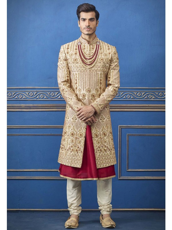Golden Colour Indian Groom Sherwani.