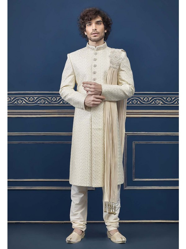 Cream Colour Indian Wedding Sherwani.