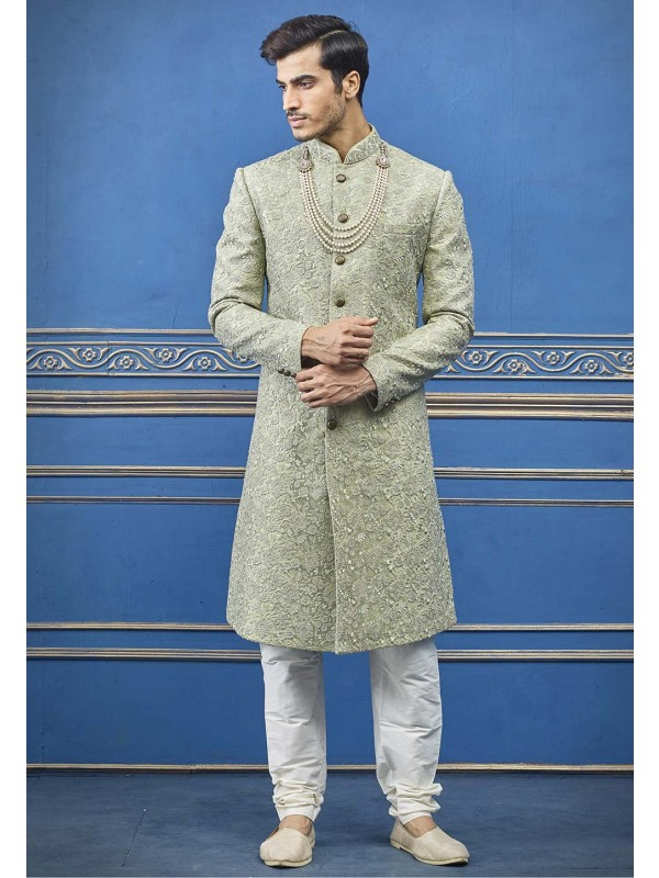 Pista Green Colour Indian Sherwani.