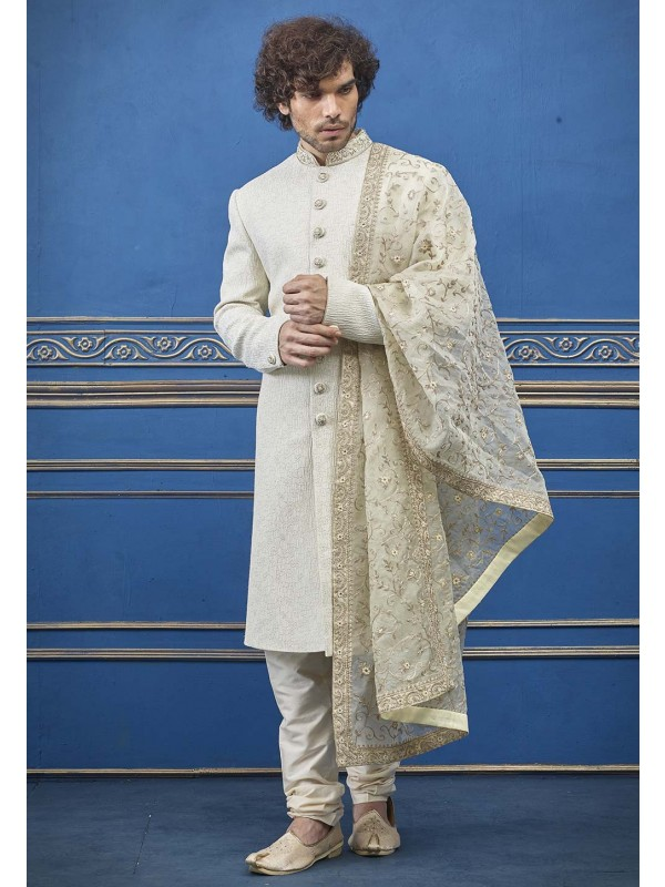 Exclusive Cream Colour Indian Designer Men's Sherwani.