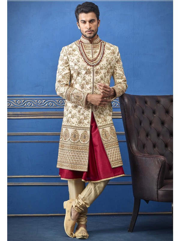 Golden Colour Silk Designer Sherwani.