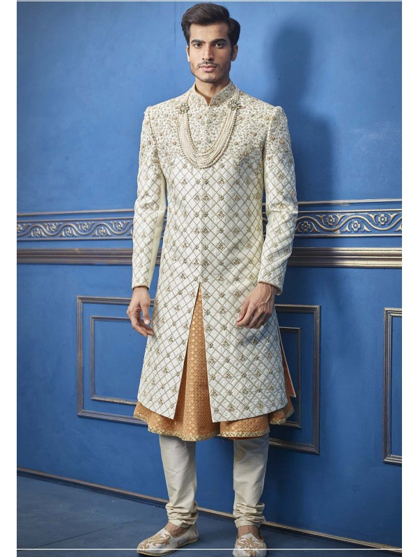 Indian Wedding Sherwani Off White Colour.