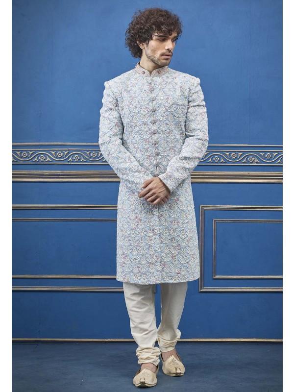 Sky Blue Colour Indian Sherwani.