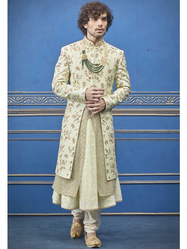 Wedding Sherwani For Groom Cream Colour.