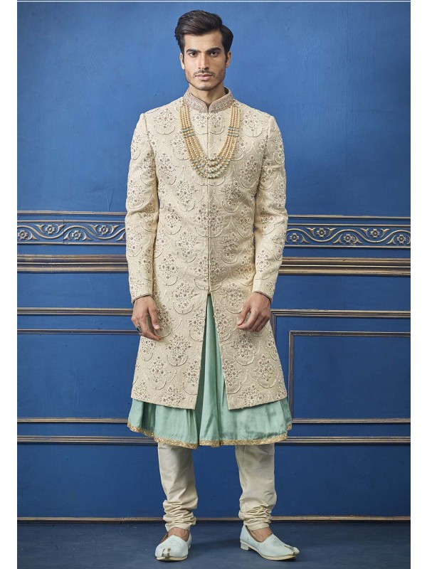Cream Colour Men's Wedding Sherwani.