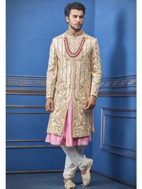 Golden Colour Indian Wedding Sherwani.