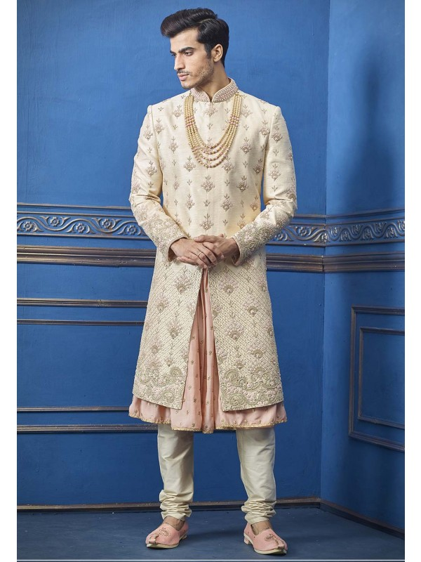 Simple and Elegant Cream Colour Men's Sherwani.