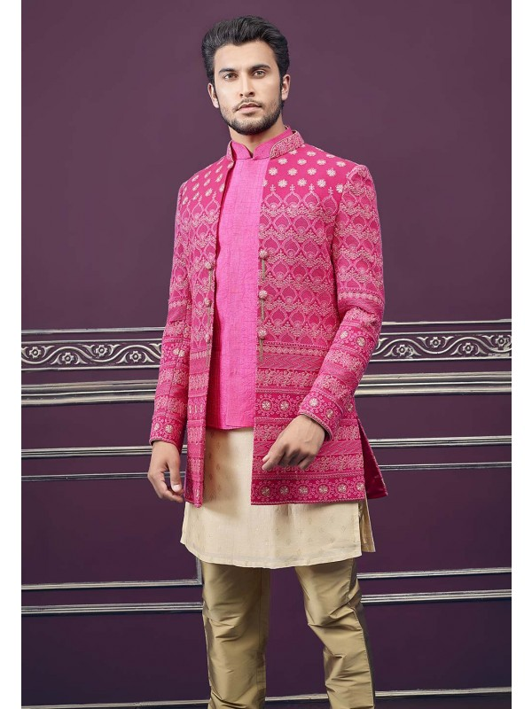 Pink Colour Silk Designer Indowestern.