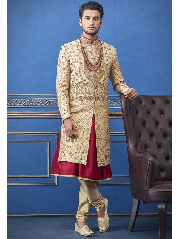 Indian Groom Sherwani Golden Colour.