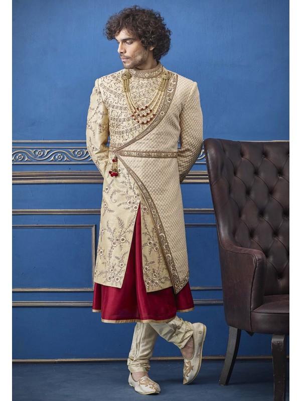Golden Colour Silk Fabric Indian Designer Sherwani.
