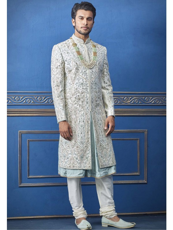 Turquoise Colour Silk Men's Sherwani.