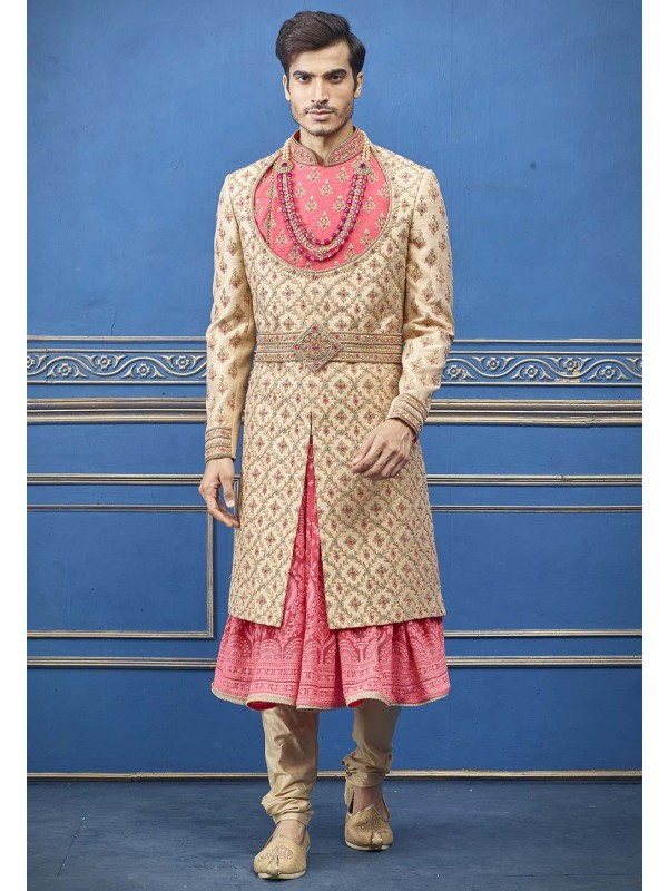 Golden Colour Silk Designer Men's Sherwani.