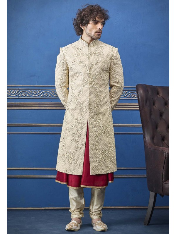 Cream Colour Silk Indian Designer Sherwani.