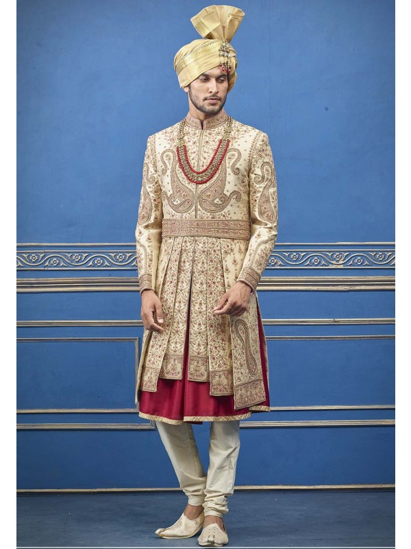 Indian Wedding Look Golden Colour Groom Sherwani.