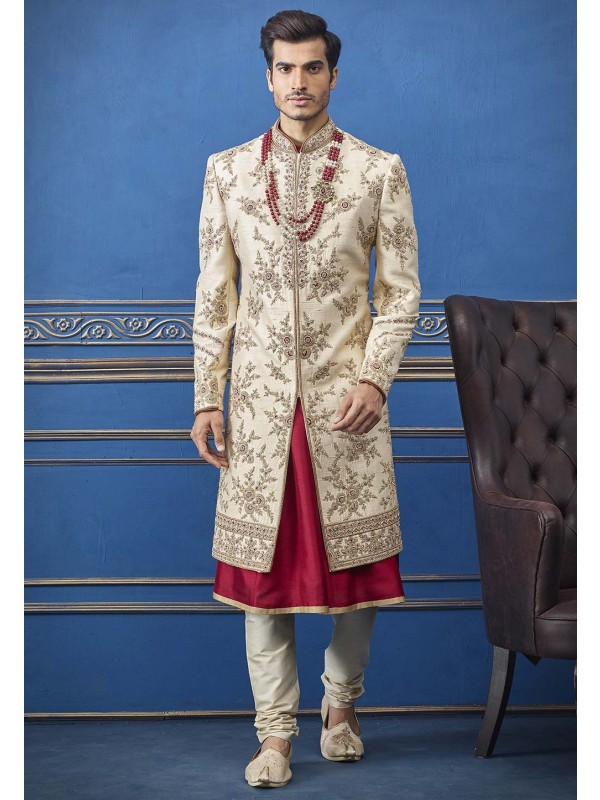Cream Colour Silk Fabric Men's Sherwani.