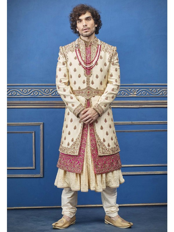 Cream Colour Silk Fabric Indian Sherwani For Men.