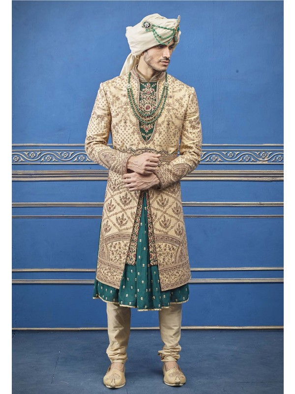 Indian Groom Sherwani Golden Color.