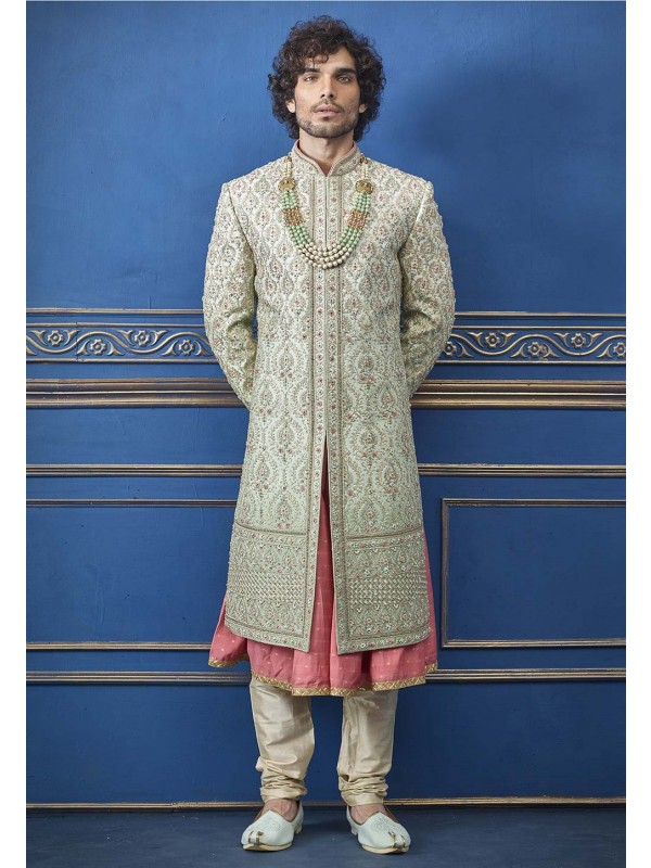 Pista Green Colour Silk Designer Sherwani.