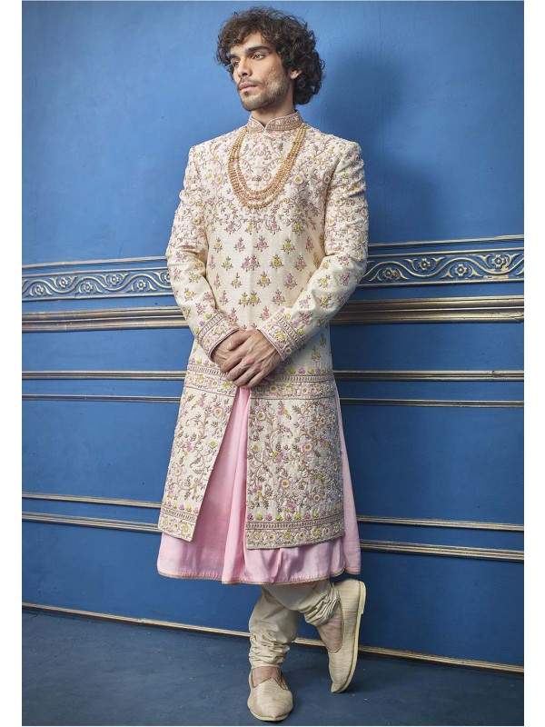 Cream Colour Silk Designer Sherwani For Men.