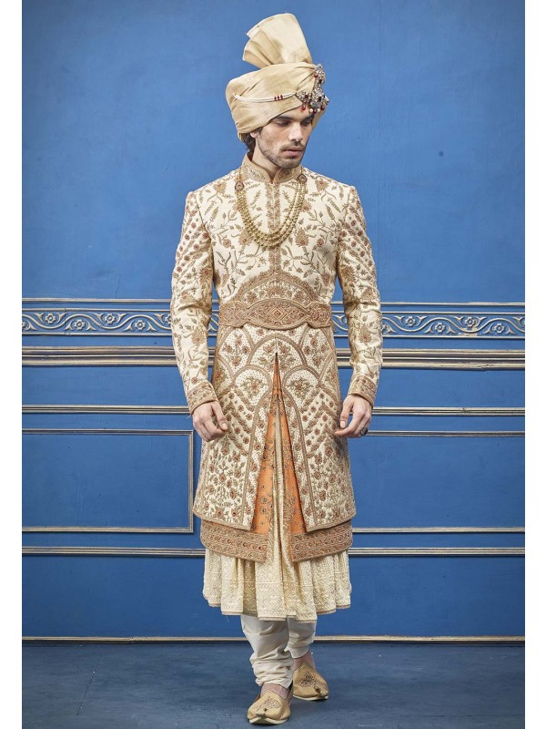 Exclusive Designer Sherwani Cream Colour.
