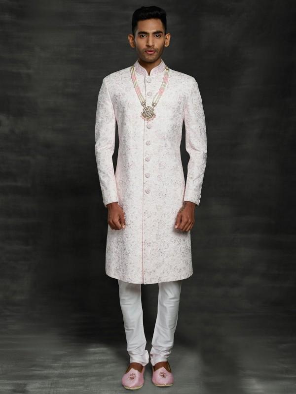 White Colour Silk Men's Sherwani With Thread Work.