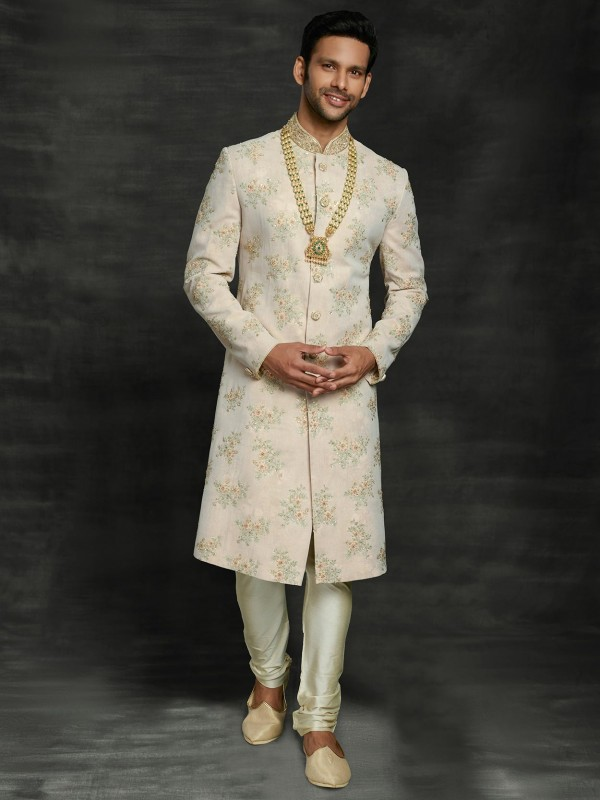 Imported Fabric Men's Sherwani Cream Colour.