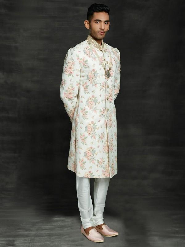 Off White Colour Imported Fabric Men's Sherwani.