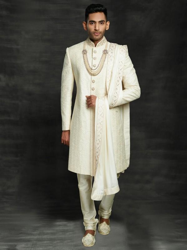Cream Colour Silk Groom Sherwani With Zari,Thread,Hand Work.