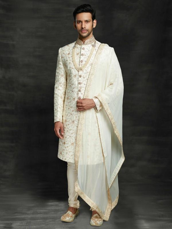 Off White Colour Silk Indian Groom Wedding Sherwani.