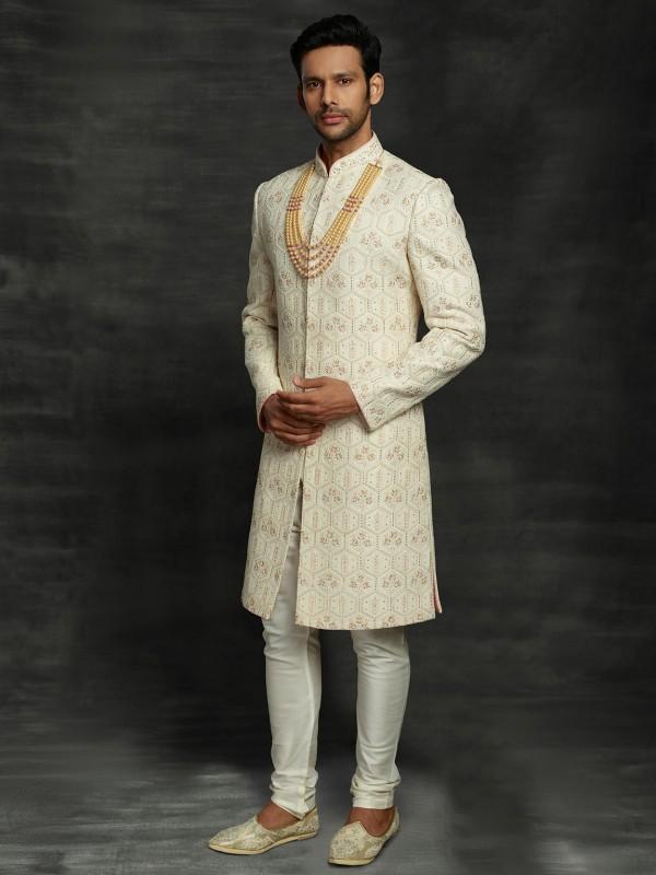 Lucknowi Fabric Wedding Sherwani in Cream Colour.