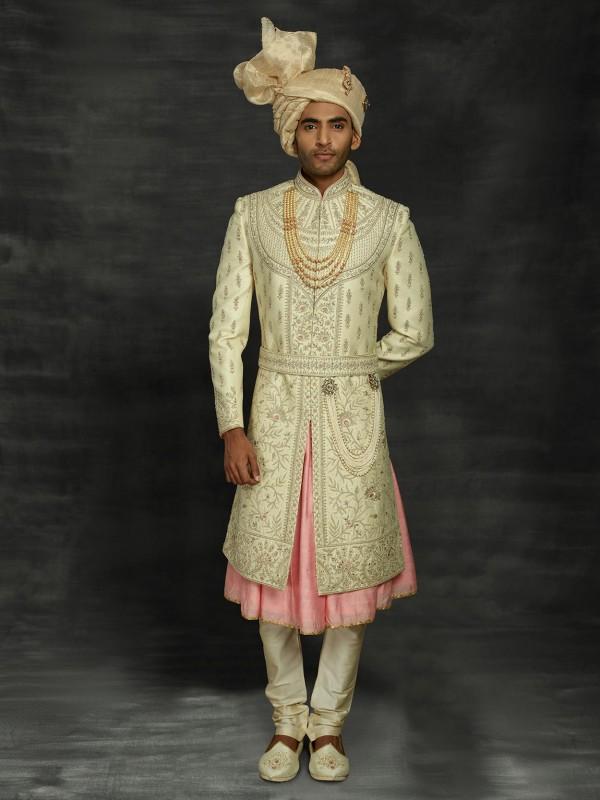 Pista Green Colour Silk Men's Sherwani.