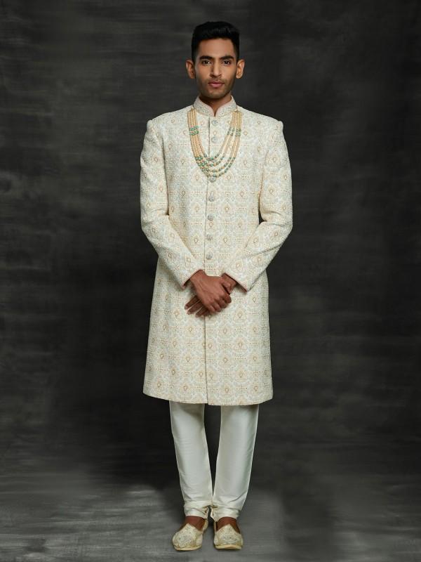 Off White In Silk Wedding Sherwani.