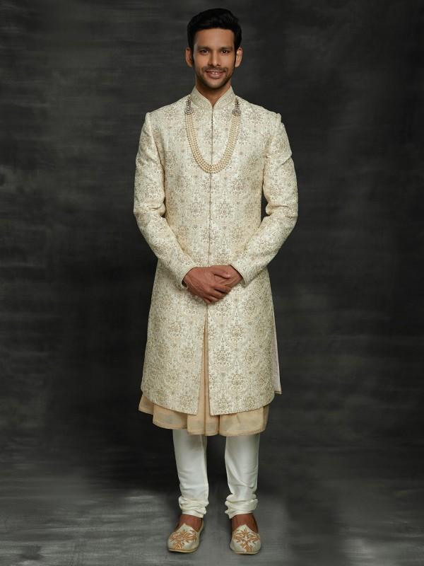 Designer Groom Sherwani Cream Colour in Silk Fabric.