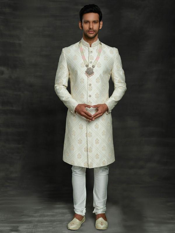 Off White Colour Men's Sherwani in Silk Fabric.