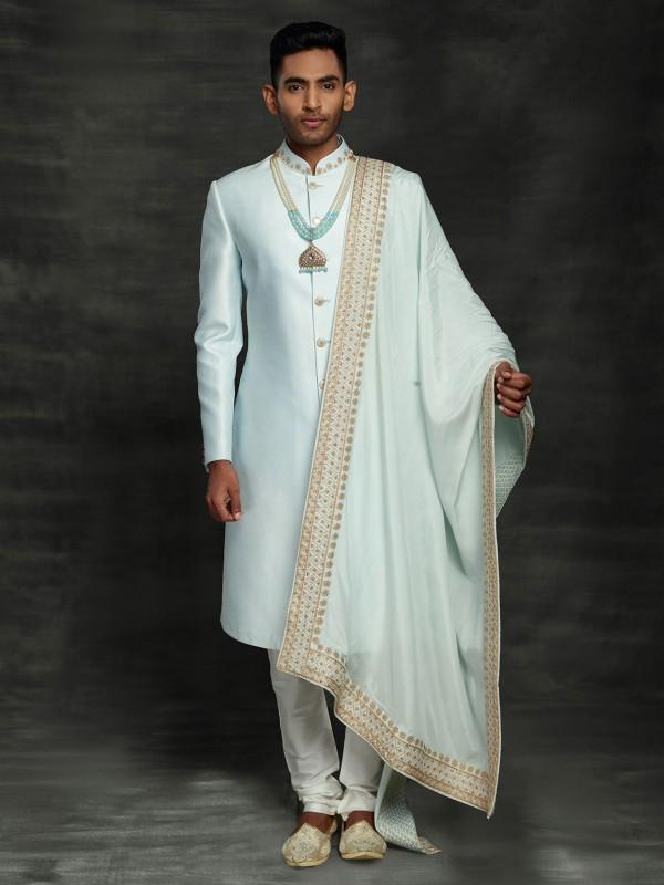 Sky Blue Colour Wedding Sherwani in Silk Fabric.