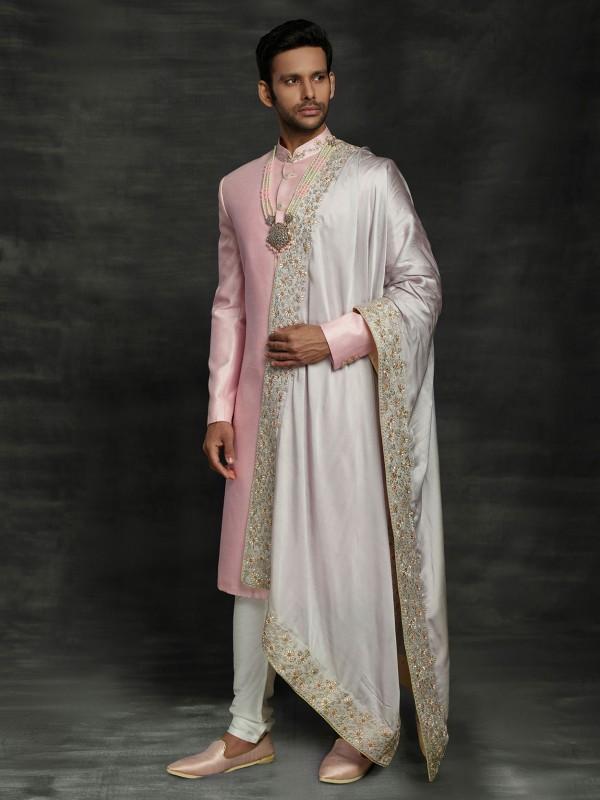Pink Colour Silk Wedding Sherwani With Hand Work.