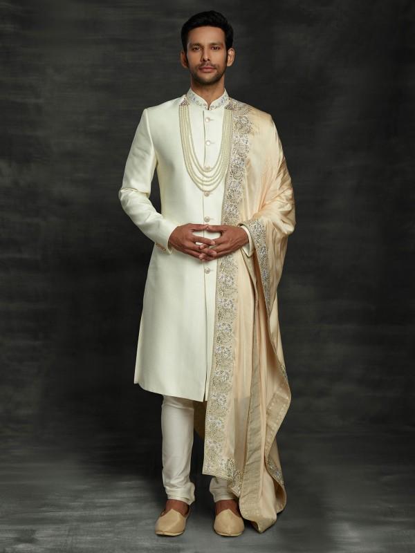 Cream Colour Silk Designer Sherwani With Hand Work.