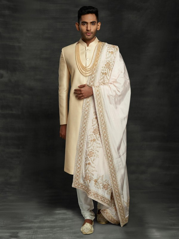 Golden,Beige Colour Indian Groom Sherwani With Hand Work.