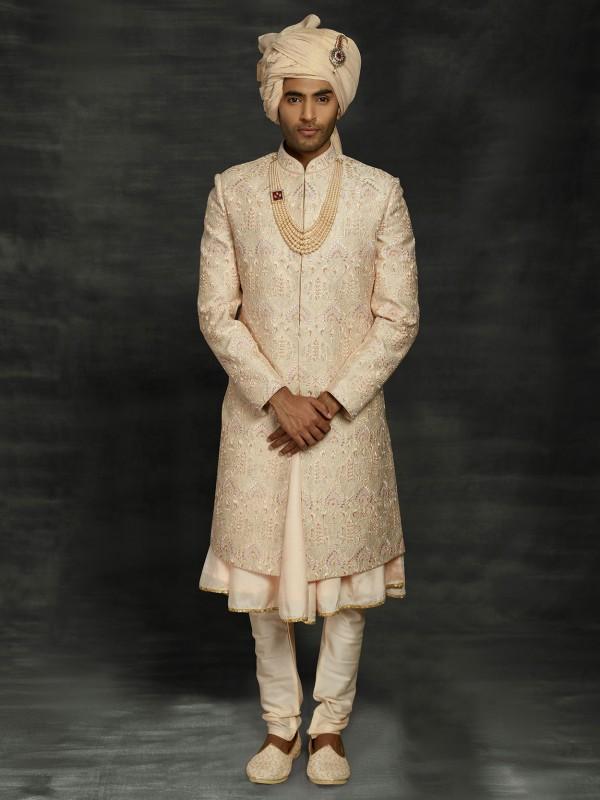 Golden,Beige Colour Silk Indian Designer Sherwani With Thread Work.