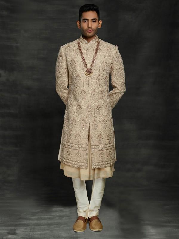 Golden,Beige Colour Silk Men's Wedding Sherwani With Zari,Thread,Hand Work.