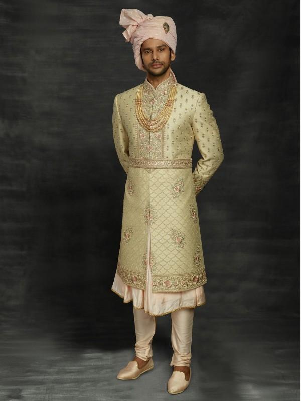 Golden Colour Silk Wedding Sherwani With Zari,Thread,Hand Work.