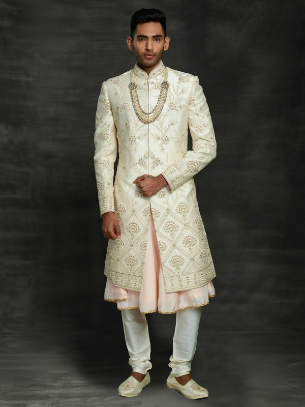Off White Colour Silk Indian Designer Sherwani.