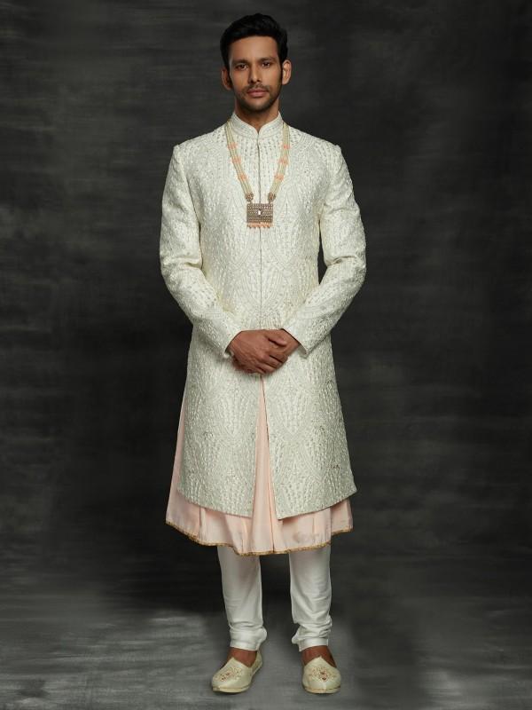 Off White Colour Silk Men's Sherwani.