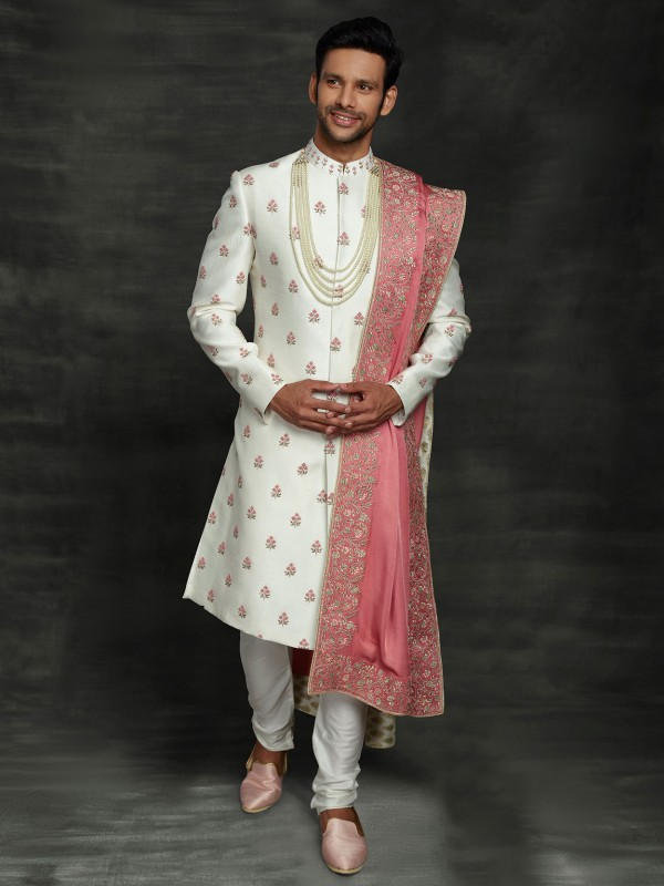 White Colour Silk Groom Wedding Sherwani With Thread Work.