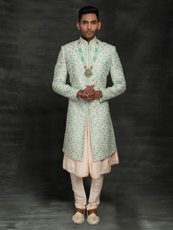 Pista Green Colour Silk Indian Wedding Sherwani.