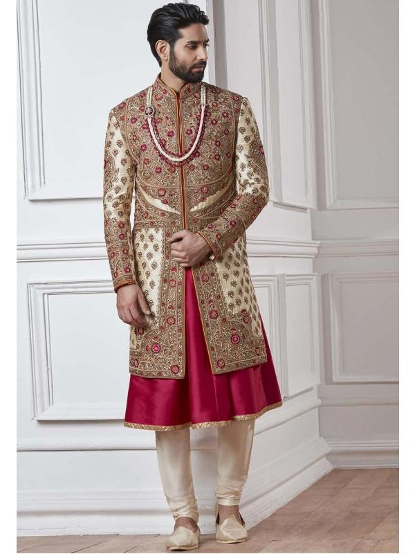 Cream,Golden Color Designer Sherwani.