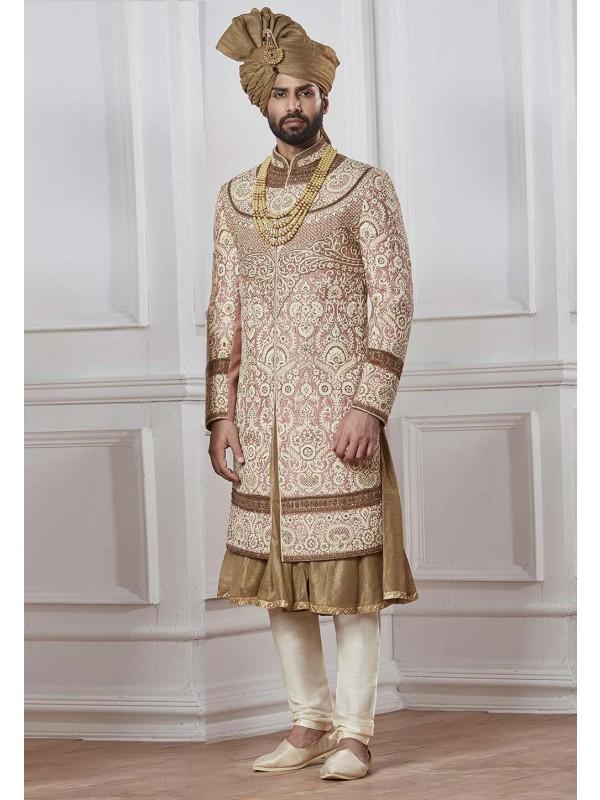 Exclusive Golden Color Designer Sherwani.
